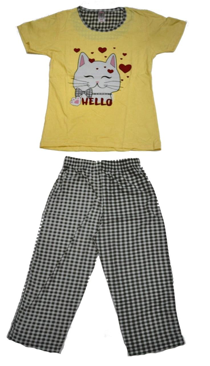 Γυναικεία-πιτζάμα-Κίτρινη-με-Κάπρι-παντελόνι-καρό-1.jpg