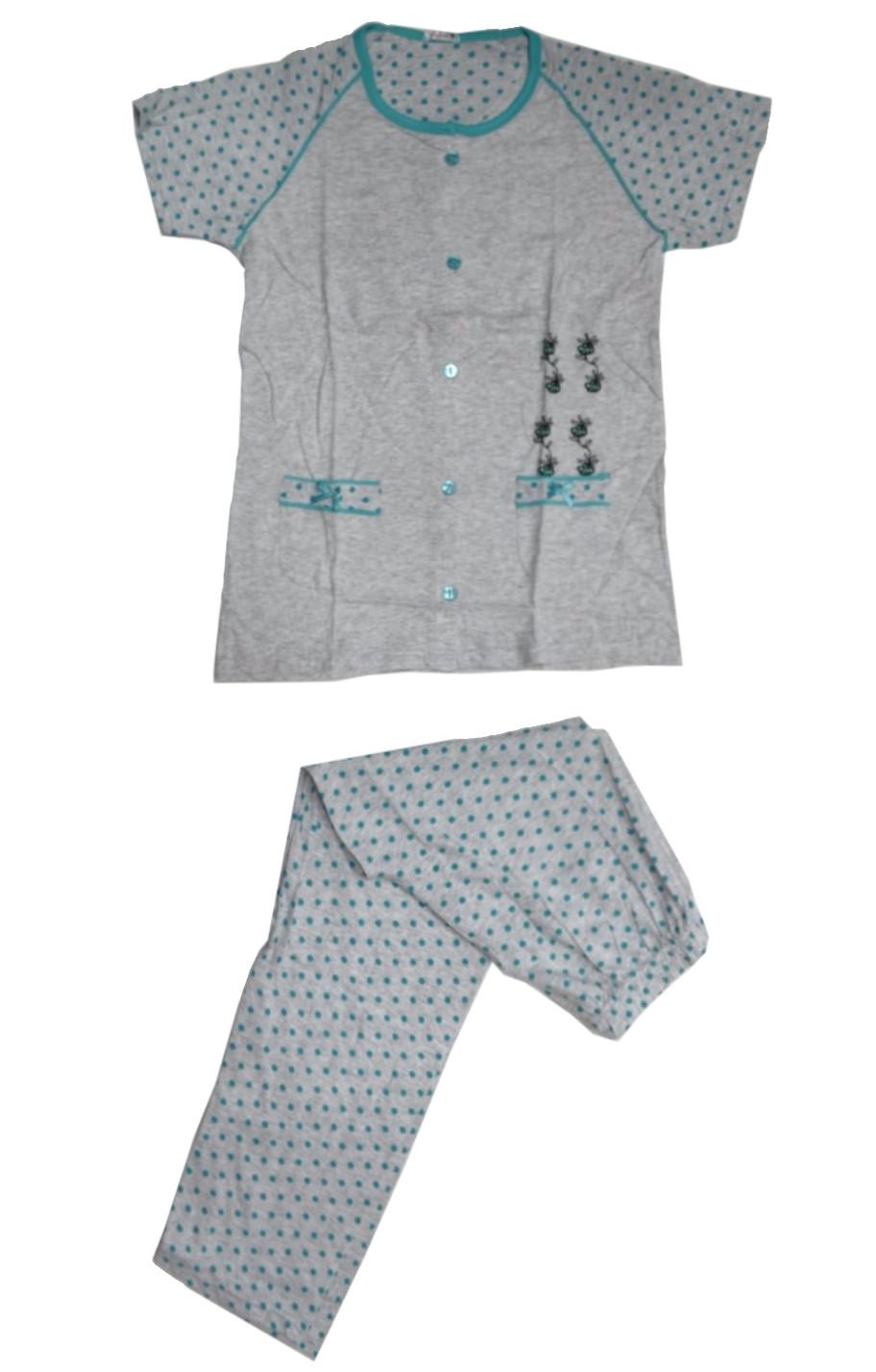 Γυναικεία-πιτζάμα-Gkri-κοντομάνικη-με-Μακρύ-παντελόνι-και-πουά-μικροσχέδιο.jpg