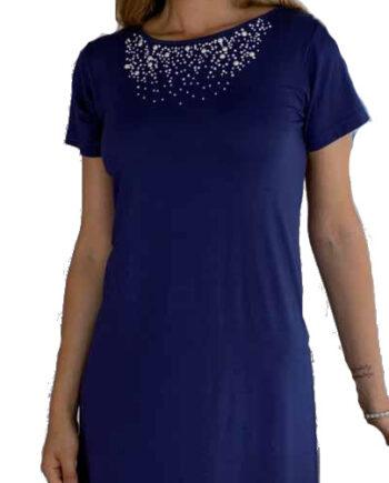 Γυναικείο-Φόρεμα-Frasi-Μπλε-με-Μαργαριτάρια-κοντομάνικο-1.jpg