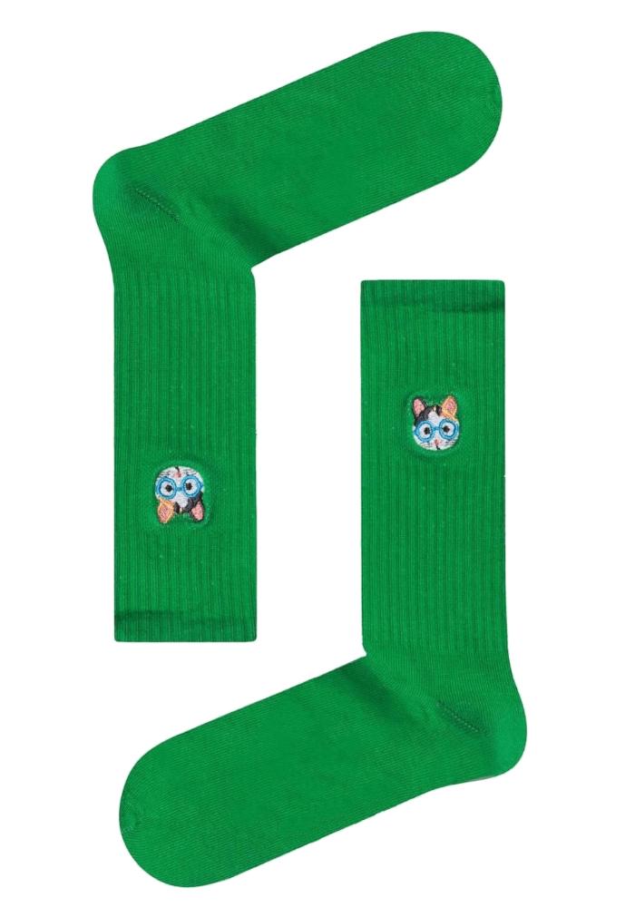 Κάλτσα unisex Cat green