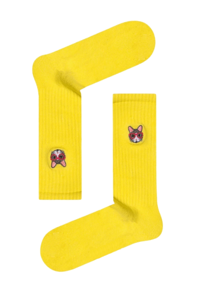 Κάλτσα unisex Cat yellow