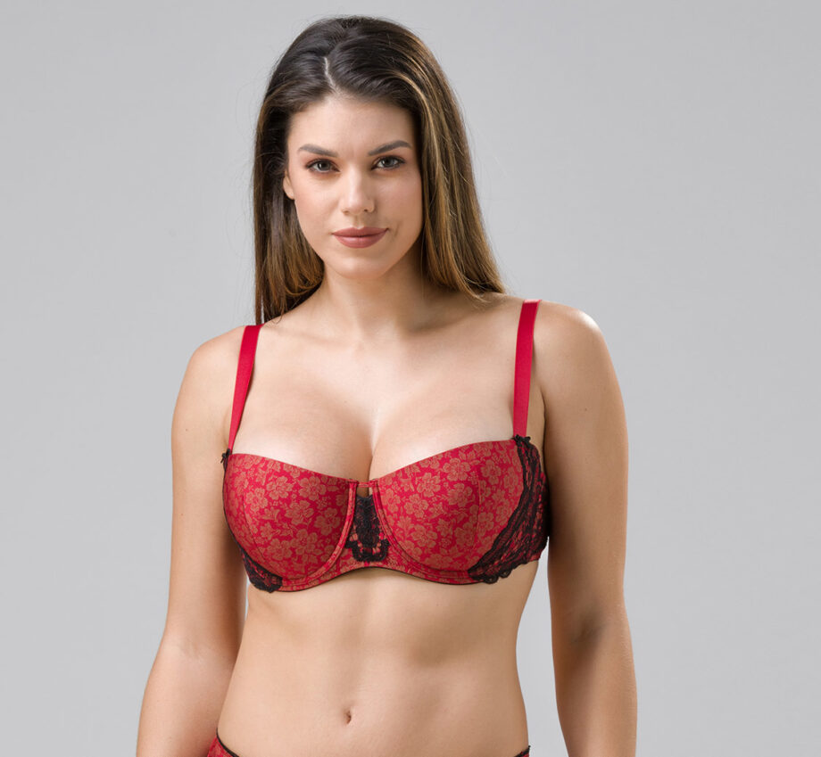 Burlesque 14100 molded balconette red front