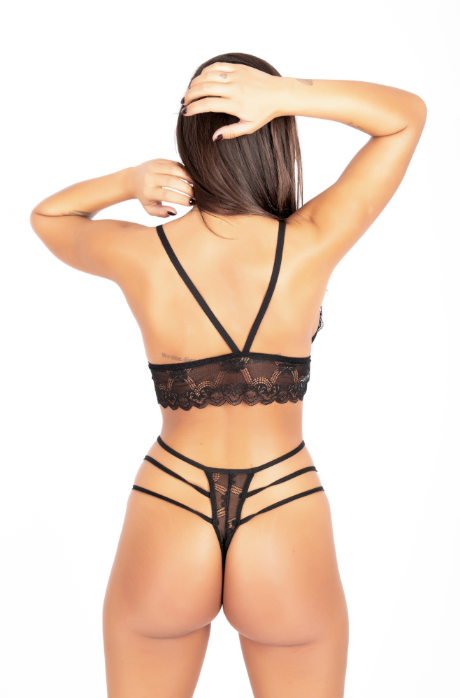 Set εσώρουχα Tres Chic χωρις κούμπωμα black back